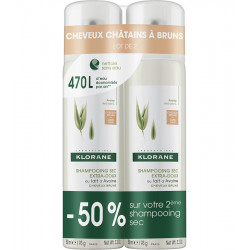 Shampooing sec au lait d'avoine teinté. Lot de 2 Sprays 150ml